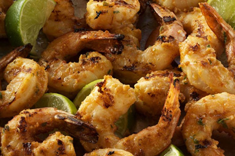 Rezept: Knoblauch  Shrimps mit Erdnuss-Limetten Marinade